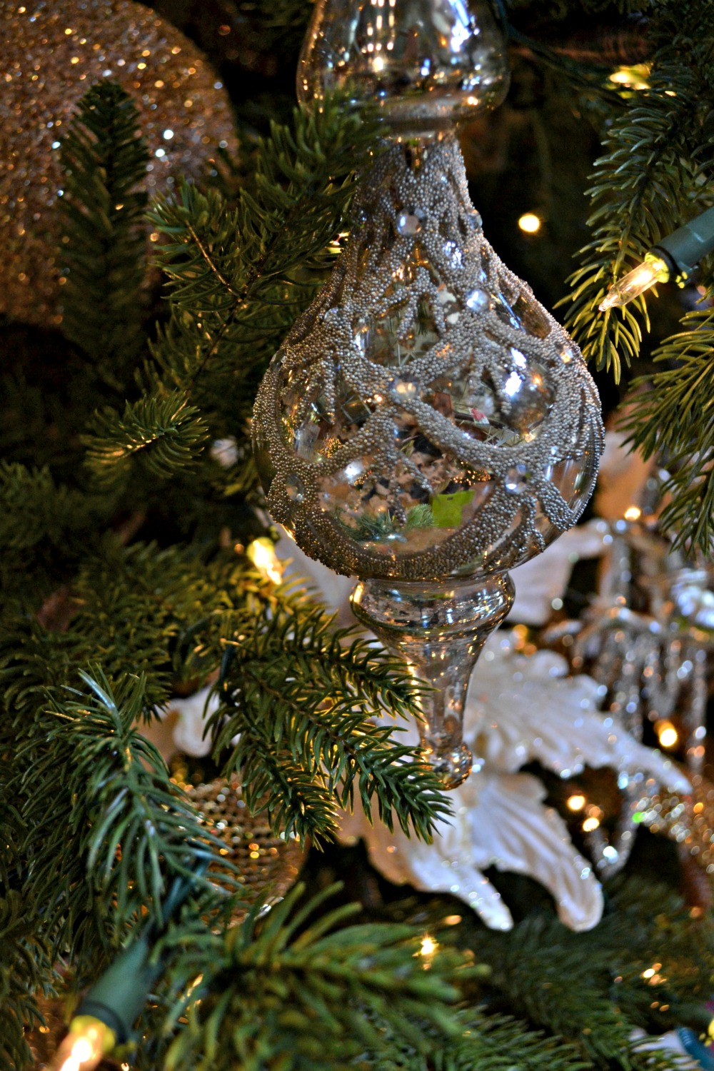 silver and gold ornament