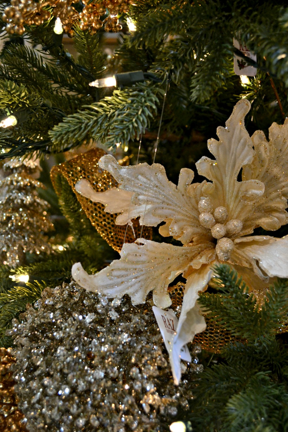 silver and gold poinsettia