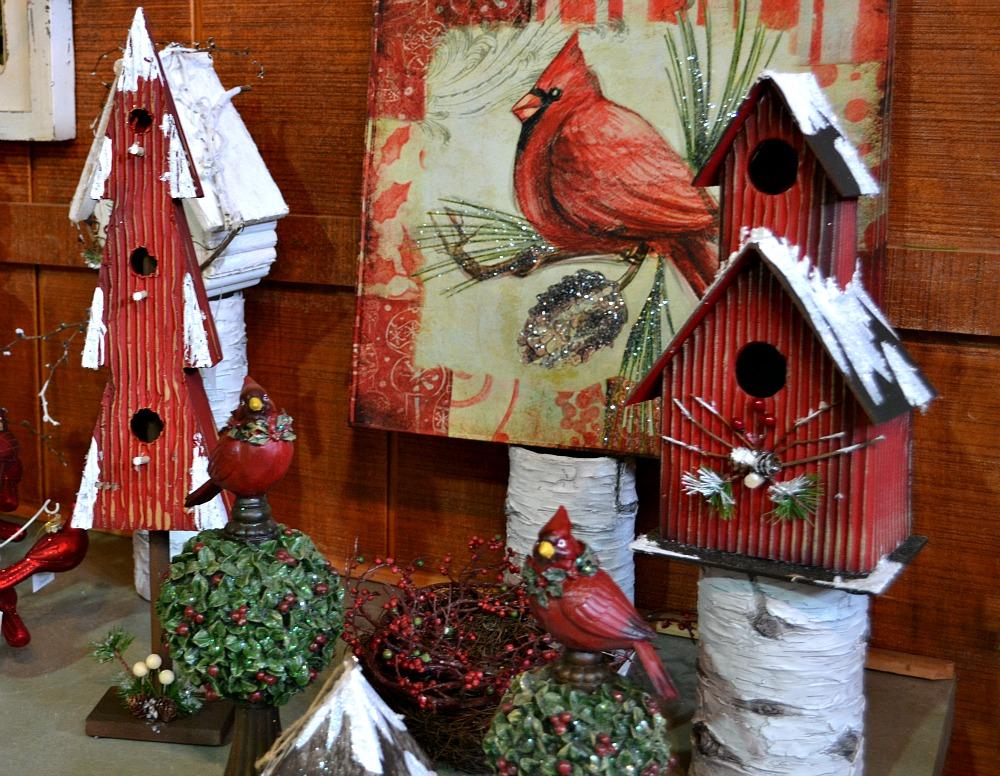 Birdsville Christmas birdhouses cardinals