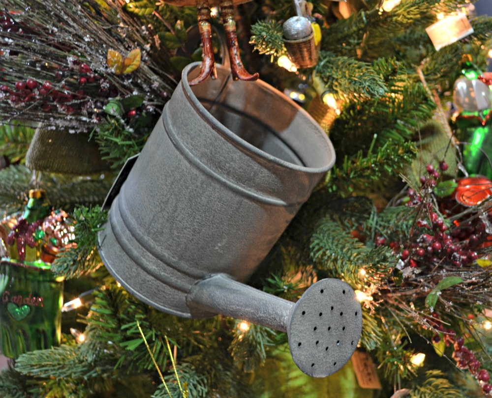 Christmas Garden watering can ornament