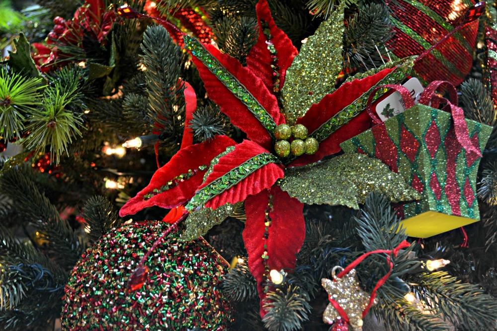 Christmas Morning poinsettia present ornament
