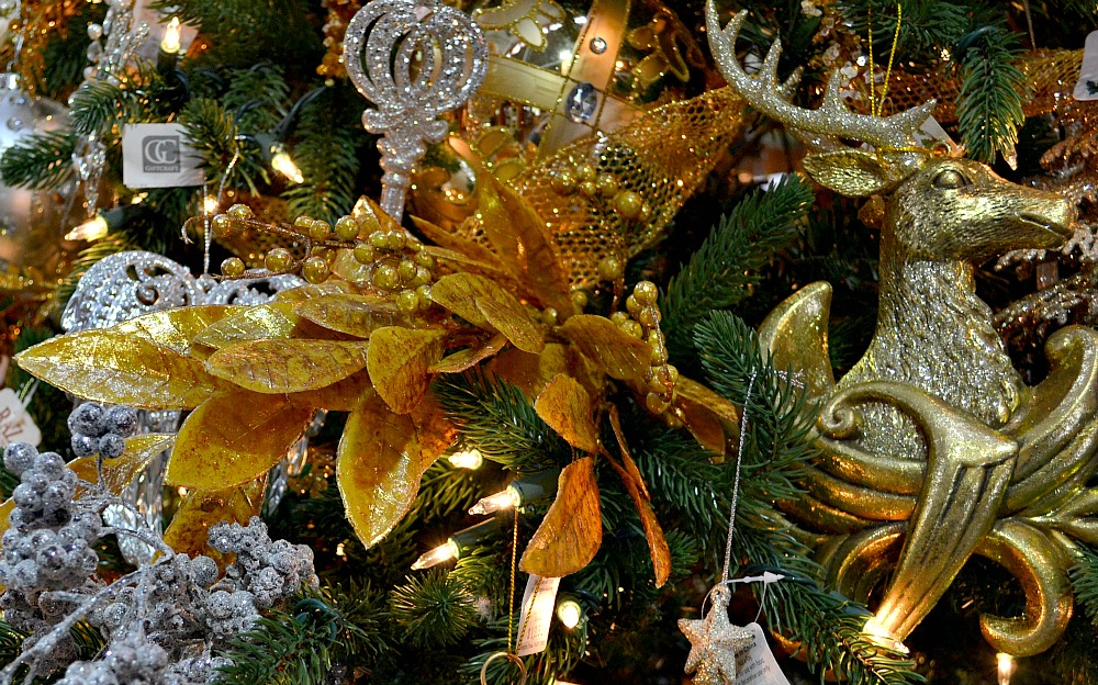 Gleaming and Bright gold reindeer ornament