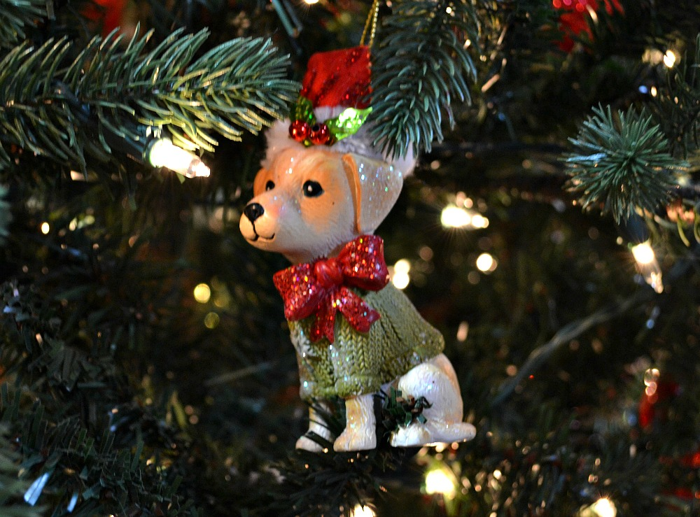 Santa Paws puppy Christmas ornament