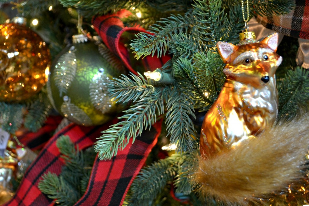 Tally Ho Fox Christmas ornament with Tartan Plaid