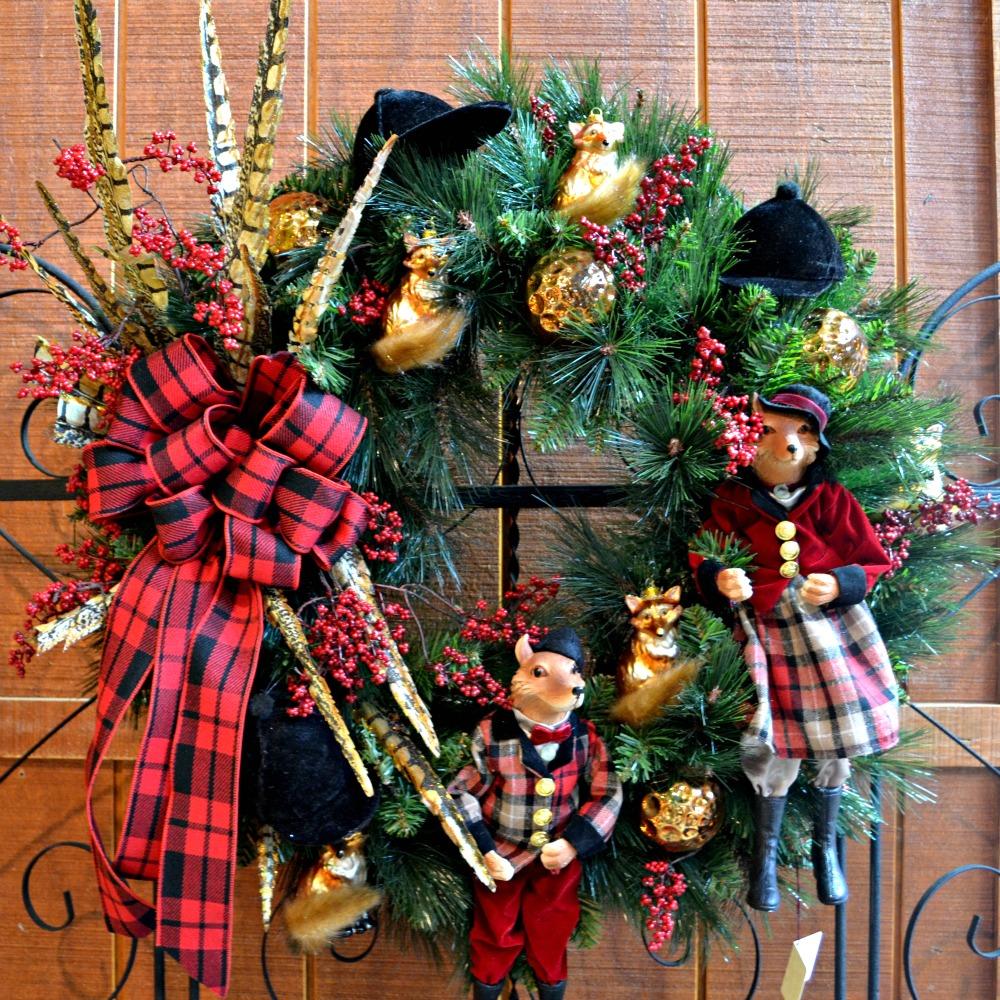 Tally Ho Fox theme Christmas wreath
