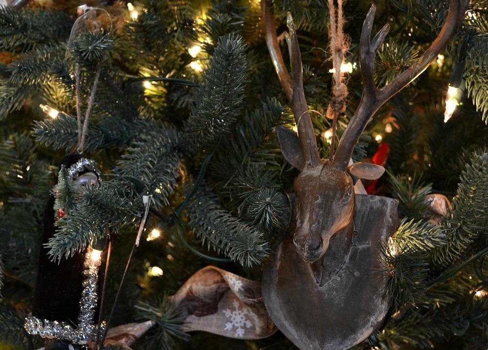 Winter Retreat Santa dear ornament