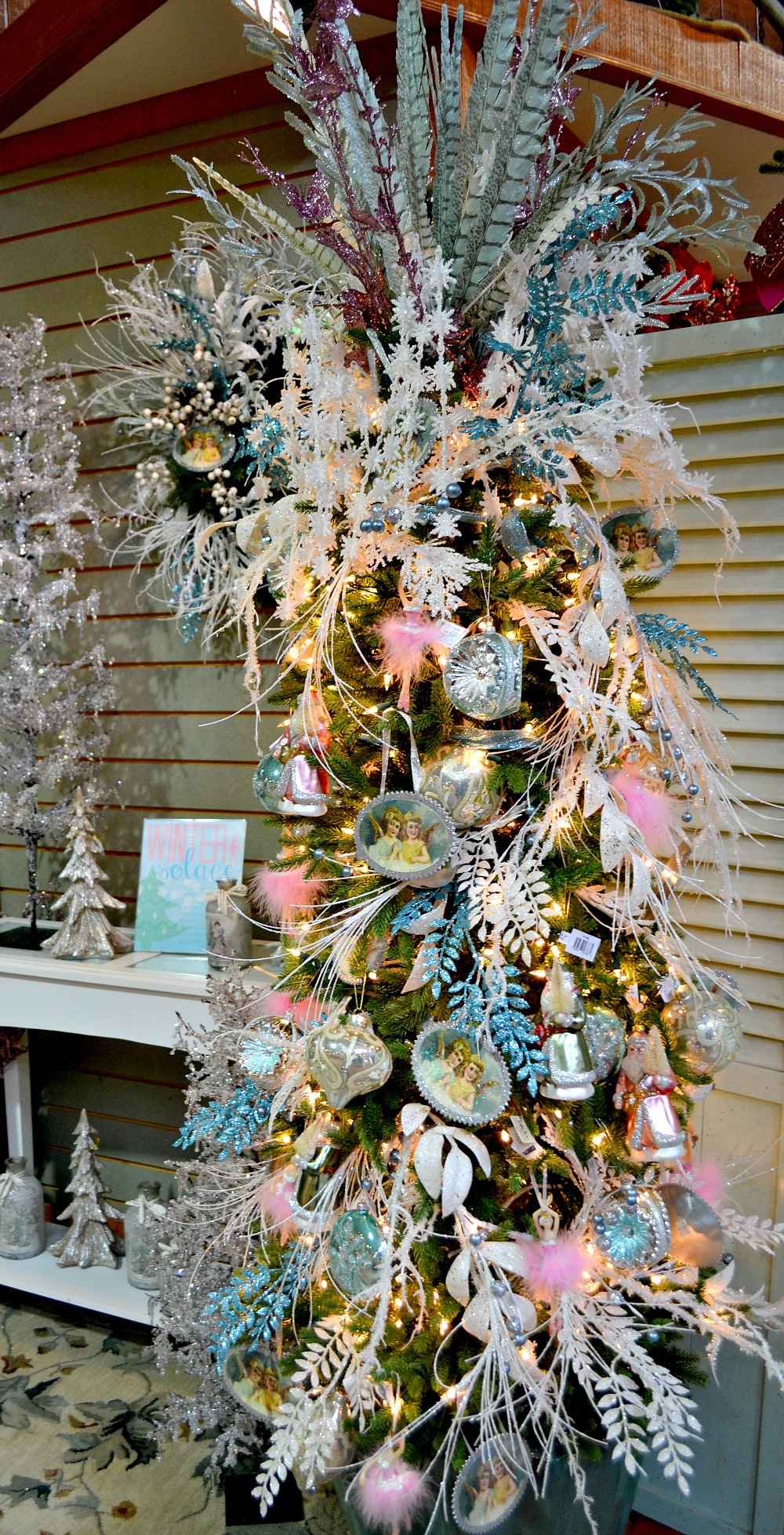 winter solace christmas tree theme pink blue white
