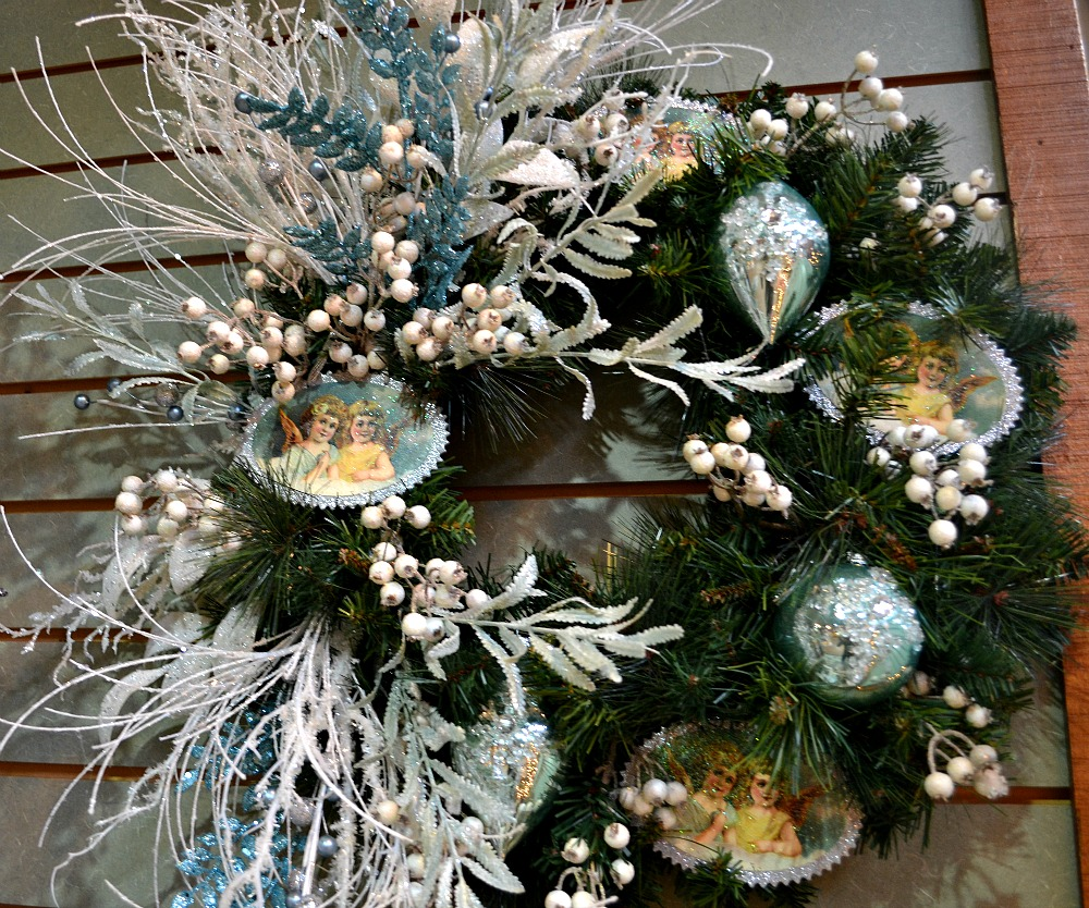 Winter Solace Christmas wreath blue white
