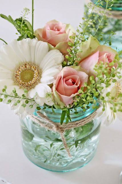 mason jar rose centerpiece