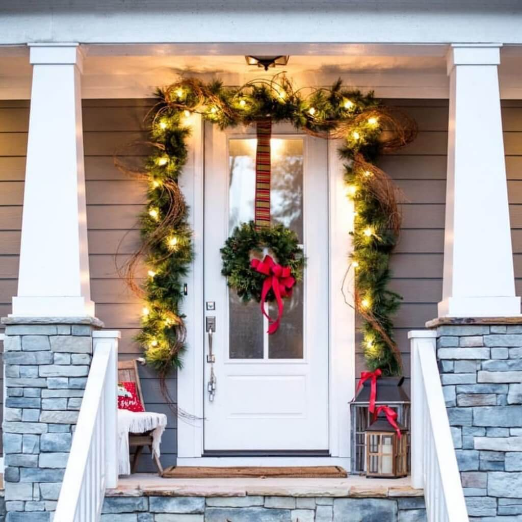 wreath and pine leaves on door